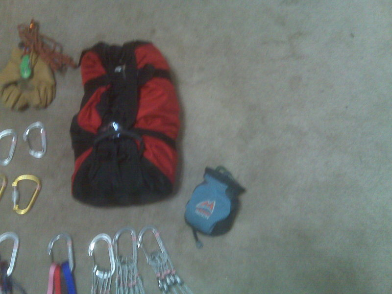 Rock Climbing Photo: Rope and Chalk Bag