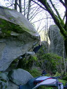 Rock Climbing Photo: Brock sticking the sloping lip on the FA.