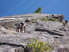 Rock Climbing Photo: Espinosa nearing the two bolts on the route,  and ...