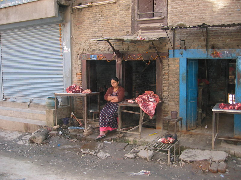 Happy butcher in kathmandu