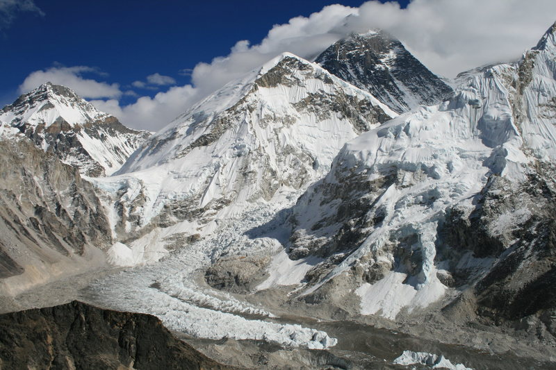khumbu Ice fall with Everest in background