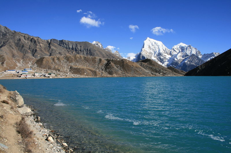 looking across the lake to Gokyo