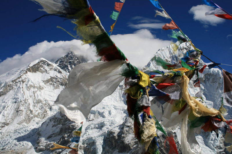 Rock Climbing Photo: Prayer flags and more incredible mountains