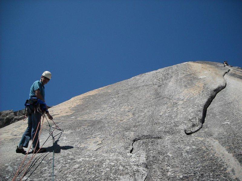 Rock Climbing Photo: John at the P3 anchor. P4 is the fun lie backing t...