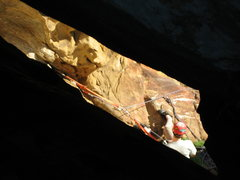 Rock Climbing Photo: Looking down through the top of the squeeze chimne...