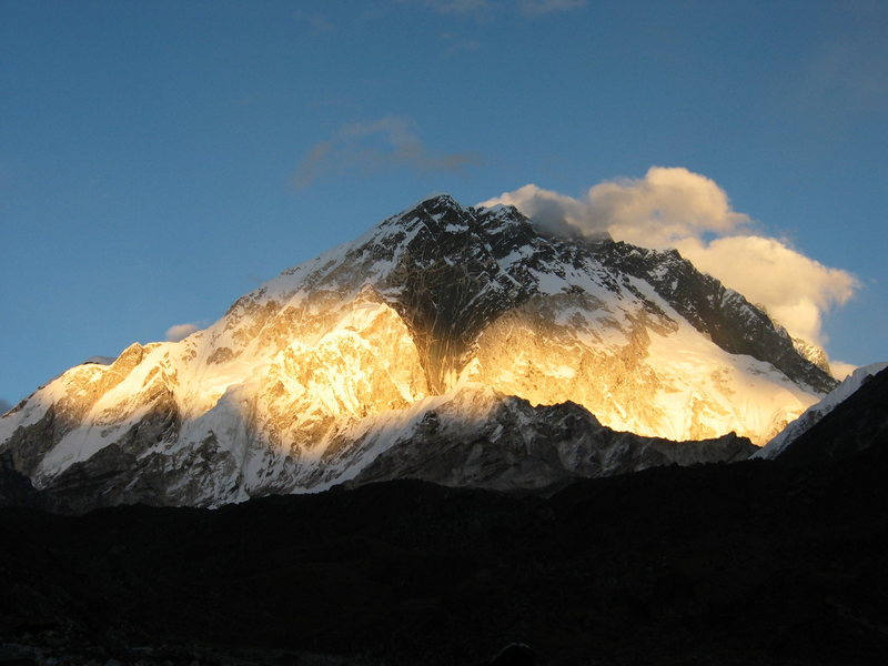 Sun setting on Nuptse