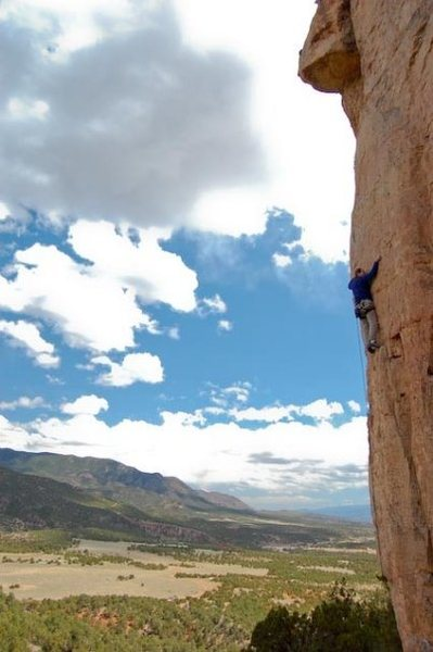 Fred on Little Mecca 12a/b, Shelf Road, CO.  Photo by Phill Tearse.