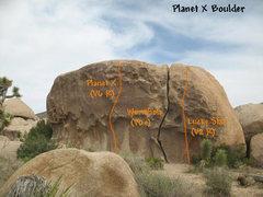 Rock Climbing Photo: Photo/topo for Planet X Boulder, Joshua Tree.