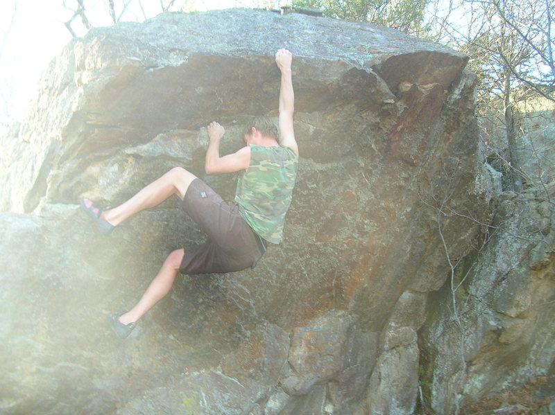Rock Climbing Photo: Melin at the mantle on Pallium Problem.