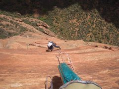 Rock Climbing Photo: Cleaning pitch 8.
