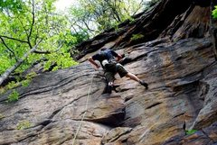 Rock Climbing Photo: Clipping the last of three bolts before the anchor...