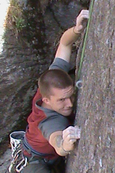 Rock Climbing Photo: mike trying to crimp on nothingness... for his hon...