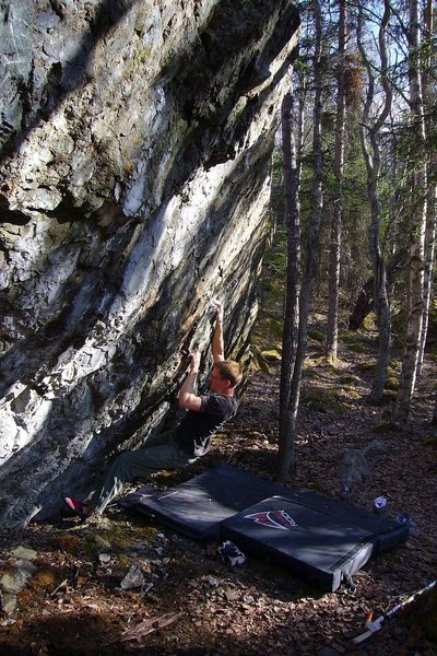 "Jared LaVacque on the FA  of ""Finger on the Trigger"", Alaska V5 -"