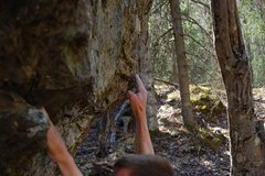 """Rock Climbing Photo: Entering the crux on """"Steady Diet of Frostbit..."""