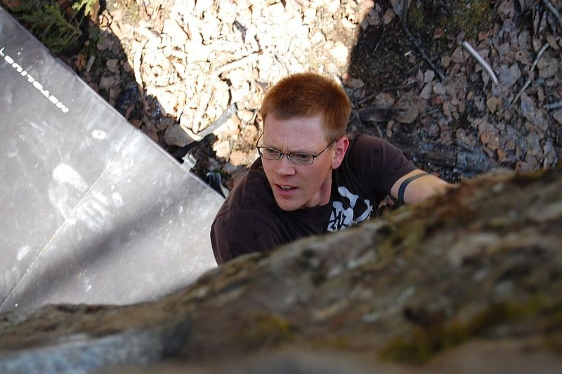 """Jared LaVacque entering the crux of """"A Steady Diet of Frostbite"""" V6/7  Somewhere, Alaska"""