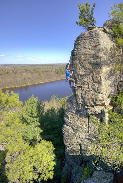 Rock Climbing Photo: Necedah, WI. Fire Spire. Henning Boldt on Fire in ...