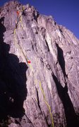 Rock Climbing Photo: The line Bob and I followed in 1977.  The divergen...