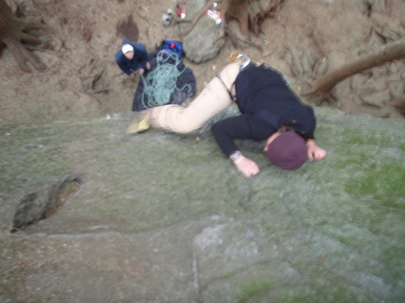 Fuzzy photo, but I'm on the sloped crux move.