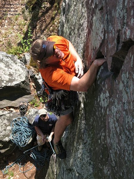 Rock Climbing Photo: Burt pauses to look for his next pro.