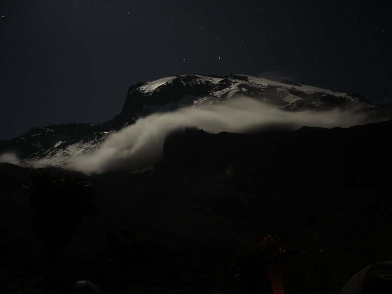 Night shot of Kilimanjaro.