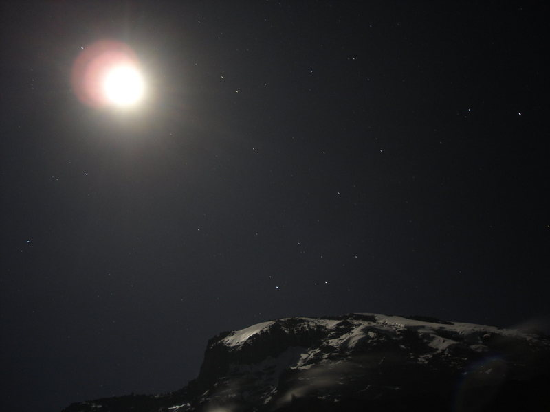 Another night shot of Kilimanjaro with the moon.