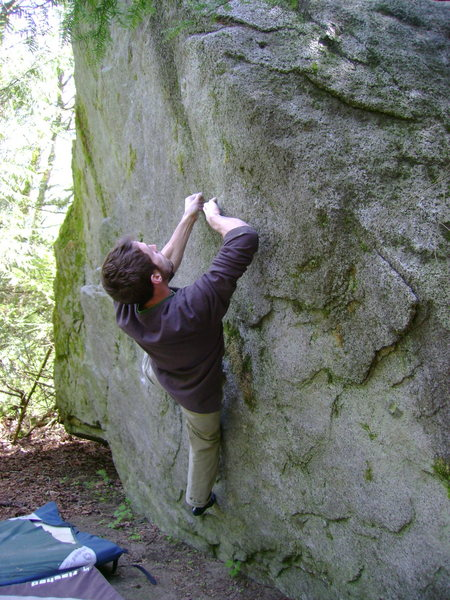 Brock Tilling on The Face Traverse, The Warm-up Boulder