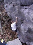 Rock Climbing Photo: Steve getting established on the crimp.
