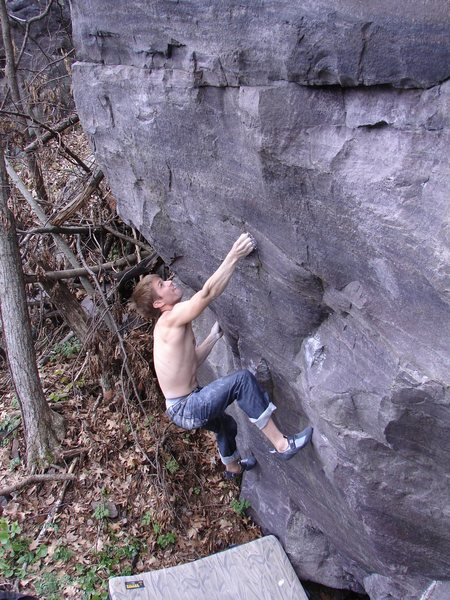 Rock Climbing Photo: Nic setting up to throw!