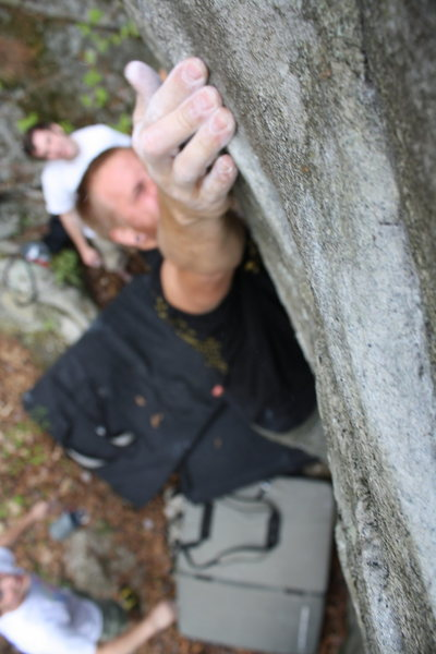 Rock Climbing Photo: Just barley catching the crimp to reach the top ou...