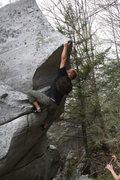 Rock Climbing Photo: Reaching for the nose of The Rhino