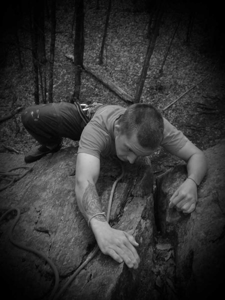 Rock Climbing Photo: Mike topping out after a good first go on BJC...