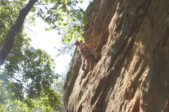 Rock Climbing Photo: Bradley leading Orange Crush.