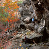 Jason enjoying beautiful fall conditions as he gets into the crux of Cosmic Monsters