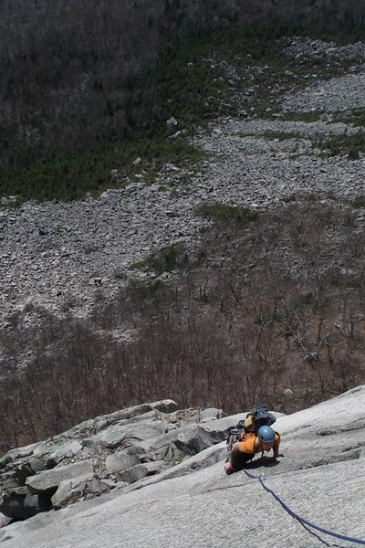 Nothing in NH beats Cannon exposure... This is mike above the roof pitch on Moby Grape...