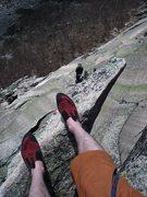 Rock Climbing Photo: Here i'm standing on top of the Finger of Fate loo...