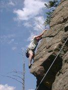 Rock Climbing Photo: John on overhang on Memory of Trees