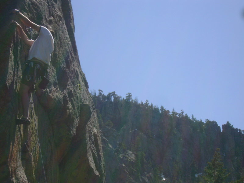 Rock Climbing Photo: John leading on the lip of Sword in the Stone