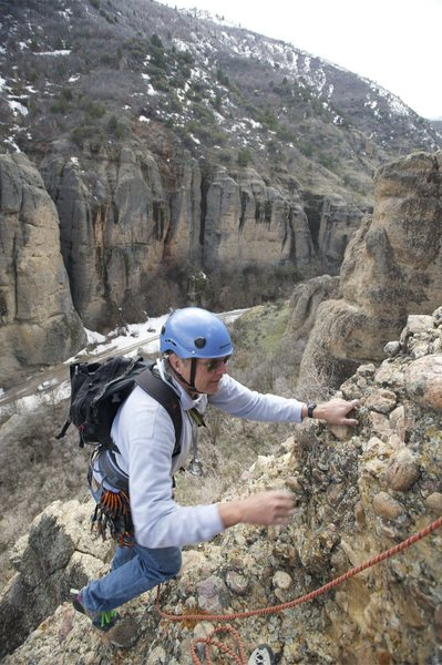 Rock Climbing Photo: Virgil Ash approaching the second belay station.