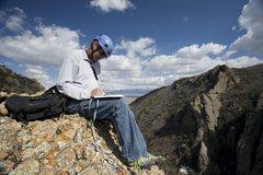 Rock Climbing Photo: Virgil Ash signing the summit register.