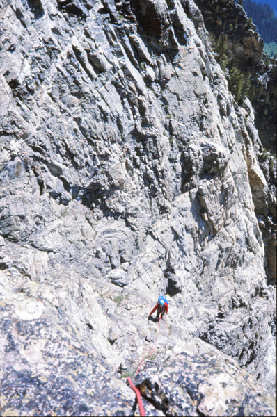 Following a 4th class pitch on the Durrance Route. Symmetry Spire. Tetons. August 1975