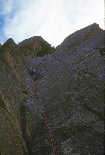 Wendy Weiss leading Over the Hill. Rincon Wall. Eldo. Fall 1988.