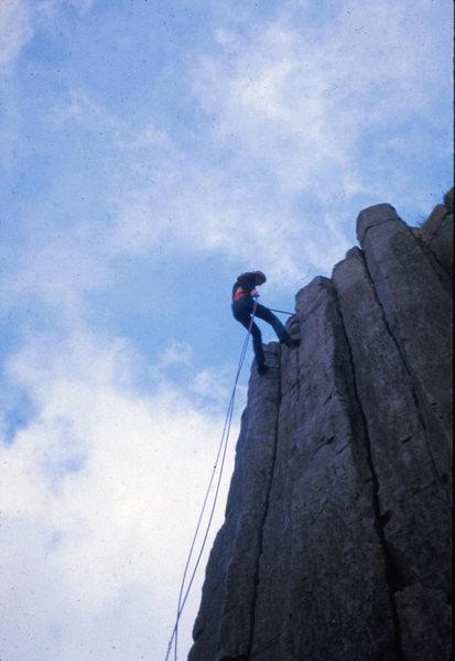 "Stan Thomas at The Columns, Eugene's ""climbing gym."" Eugene, OR. Spring 1973"