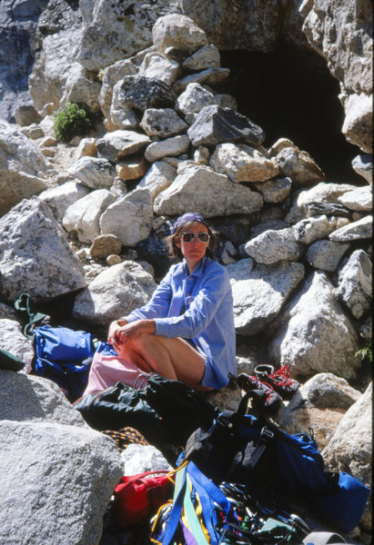 The Caves bivy in Garnet Canyon before climbing the Direct Exum on the Grand. Tetons. August 1980