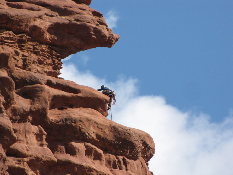 Rock Climbing Photo: starting the traverse pitch.  I had to protect mys...