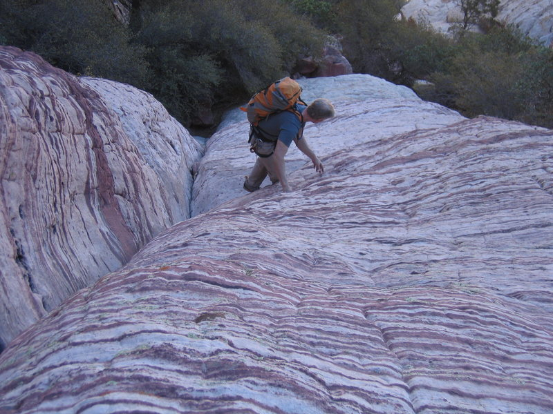 Rock Climbing Photo: Easy downclimbing below the second rappel.