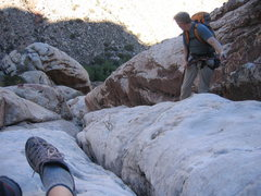 Rock Climbing Photo: Our 3rd rappel.  I think this can also be downclim...
