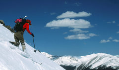 Rock Climbing Photo: A little skied gully and avalanche path on the eas...