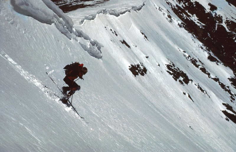 A jump turn in saturated powder high in the East Bowl of Gray's Peak. May 1987