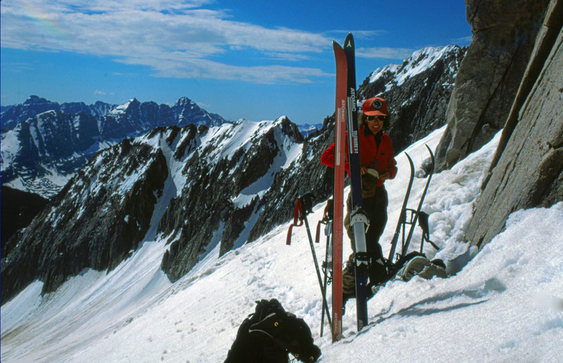 Preparing to ski down to our camp at Snowmass Lake from the foot of Snowmass Mtn's summit pyramid. The Maroon Bells on the skyline. Maroon Bells Wilderness Area, CO. June 1987