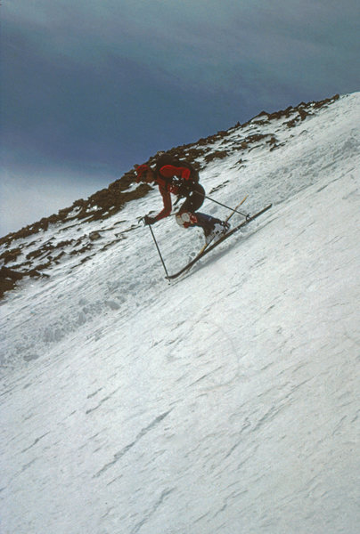 The all-too-common sloppy snow in Kelso Mtn's E Gully. May 1990